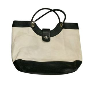Kate Spade large black and cream leather tote bag